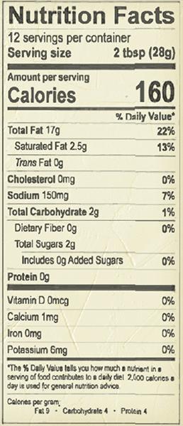 Balsamic-Vin-Nutrition-Label