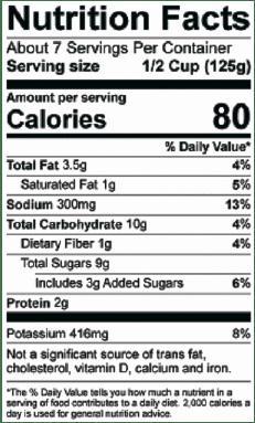 Sals's Red Gravy Nutrition